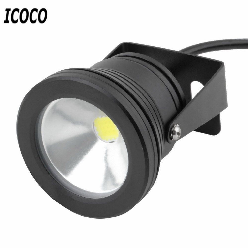 10W IP68 Black Color Underwater Light 12V Outdoor Waterproof LED Flood Light Super Bright Aquarium Fish Tank Light