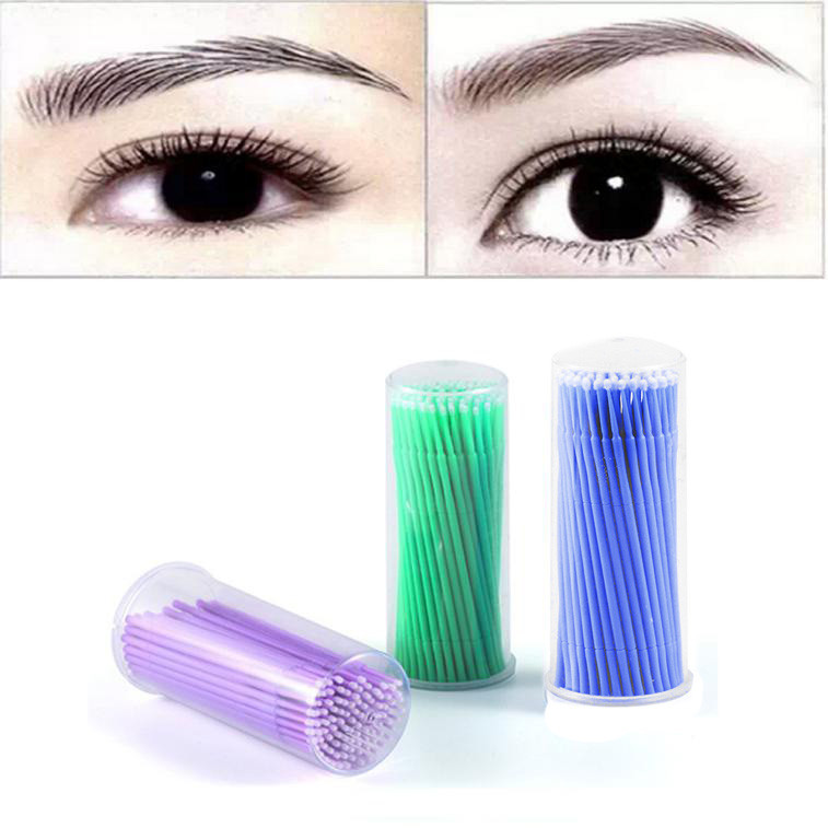 100pc/ Bottle Tip Head Cotton Swab Microblading Micro Brushes Swab Lint Free Tattoo Permanent Eyelash Cotton Swab