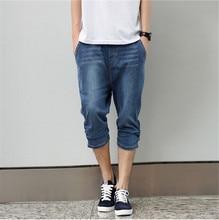 Blue short jeans men hiphop large size 2015 designer jeans for boy skateboard hip hop jeans men's big size M-4XL pants summer