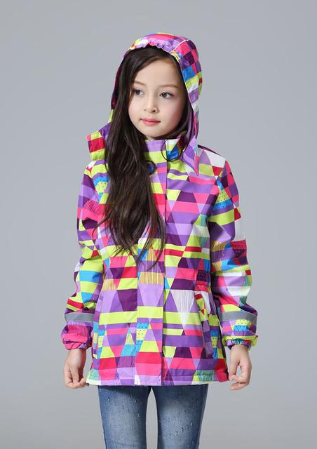 Los niños/niños/niñas estampado geométrico parka cortavientos/trench impermeable, primavera/otoño chaqueta w forro polar, tamaño 98 a 146