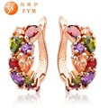 Super Luxury Rose Gold Plated Multicolor Hoop Earrings For Women with Colorful Zircon Crystal Wedding Jewelry Statement Earrings