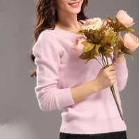 Ms Winter Mink Cashmere Sweaters Pure Mink Sweater Round Neck Short Paragraph Slim Bottoming Shirt Big