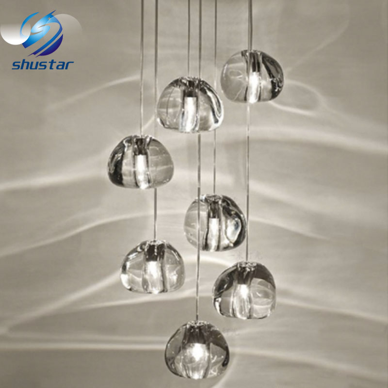 Modern Clear Gold Crystal Glass Sphere Ball Chandelier Mizu 3 5 7 15 26head Pendant Lamp