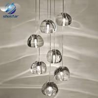 Moderno chiaro/oro di cristallo sfera di vetro sfera lampadario mizu 3 5 7 15 26 testa lampada a sospensione lampada da soffitto rotonda in acciaio inossidabile base