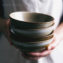 ANTOWALL Personality Japanese-style handmade vintage ceramic restaurant tableware household porcelain rice bowl soup noodle bowl round white black ceramic salad bowl gold japanese style noodle container for soup rice bowl ceramica set kitchen tool tableware