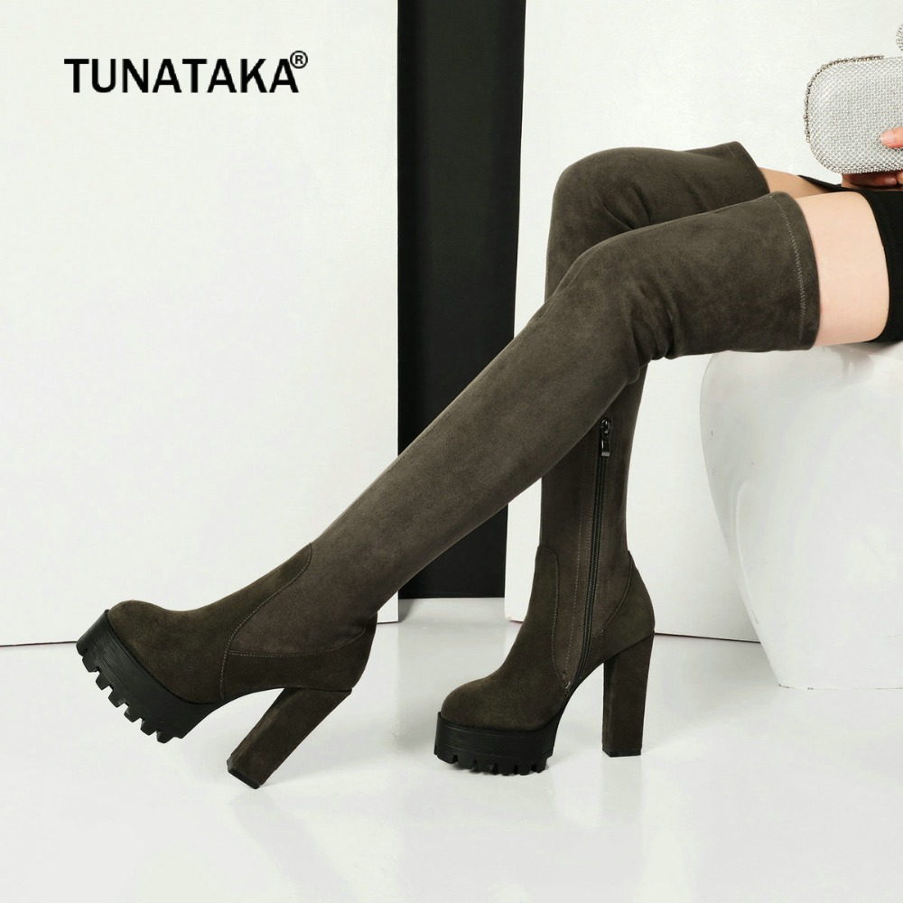 Suede Winter Thigh Boots Square High Heel Side Zipper Woman Over The Knee Boots Fashion Platform Party Thigh Boots Black Green women platform chunky high heel over the knee boots side zipper winter warm thigh boots fashion woman shoes white black