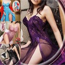 Purple Fashion Lace Mesh Sexy lingerie for women Night Dressing Gown Sleepwear Long nightgown night dress nightie nightwear Set