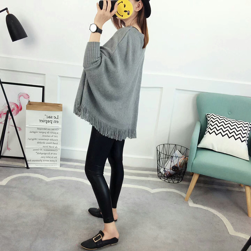 New Autumn Gray Pullovers And Sweaters Loose Tassel Soft Shawl Poncho Women Slash Neck Bat Long Sleeve Pullover Sweater Shawl 2