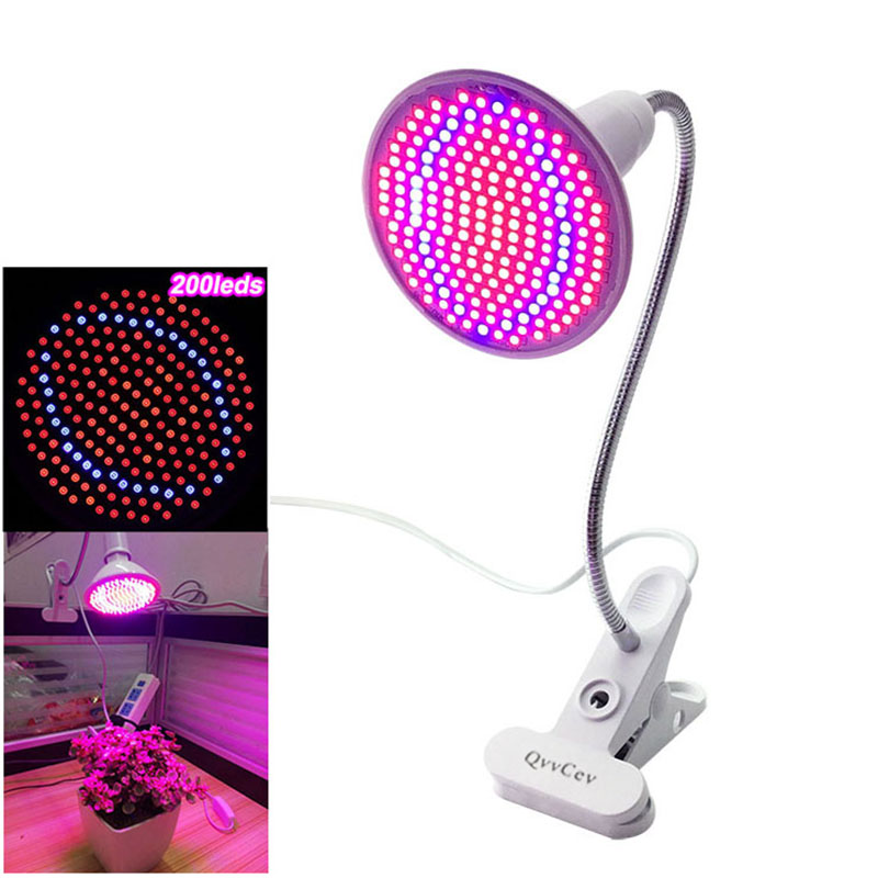 200 Led Grow Light Bulbs Lamp Plant Flower Vegetable Growing Lights For Indoor Greenhouse Hydroponics System + Desk Holder Clip