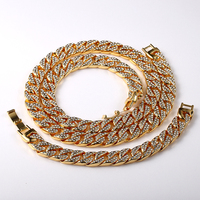 2016 New Statement Miami Cuban Link Chain 18K Gold Plated Fully Iced Out Hip Hop Bling
