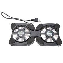 18x9 cm Mini USB Portátil Portátil Doble Ventiladores Cooler Pad Plegable Coller Fan Negro Alta Calidad