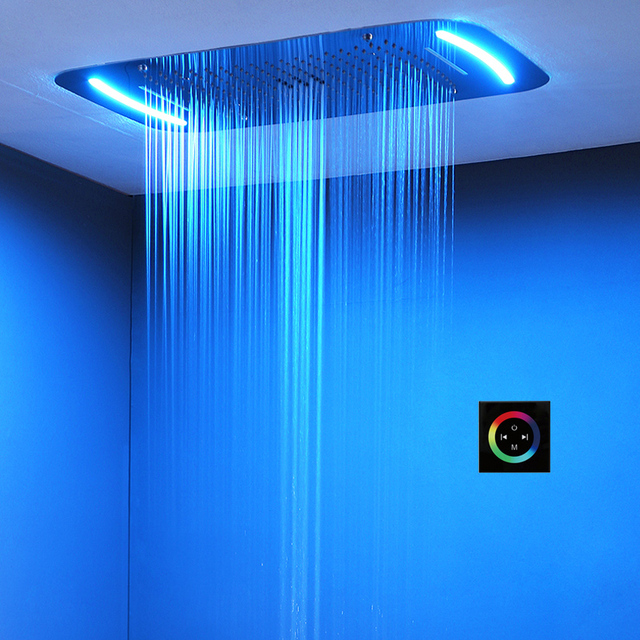 Misty Shower Head LED Ceiling Luxury Colorful Overhead Shower 304SUS 710x430mm Big Bathroom Rainfall Waterfall Bubble Showerhead