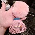 Portachiavi Luxury Brand Leather Tassel Keychain Rex Rabbit Keychains Fur Pompom Women Bag Charm porte clef pompom de fourrure