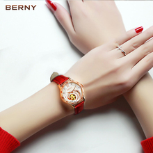 BERNY Skeleton Automatic Mechanical Watches Women Luxury Brand Rose Gold Ladies Leather Diamond Sapphire Auto Mechanical Watches
