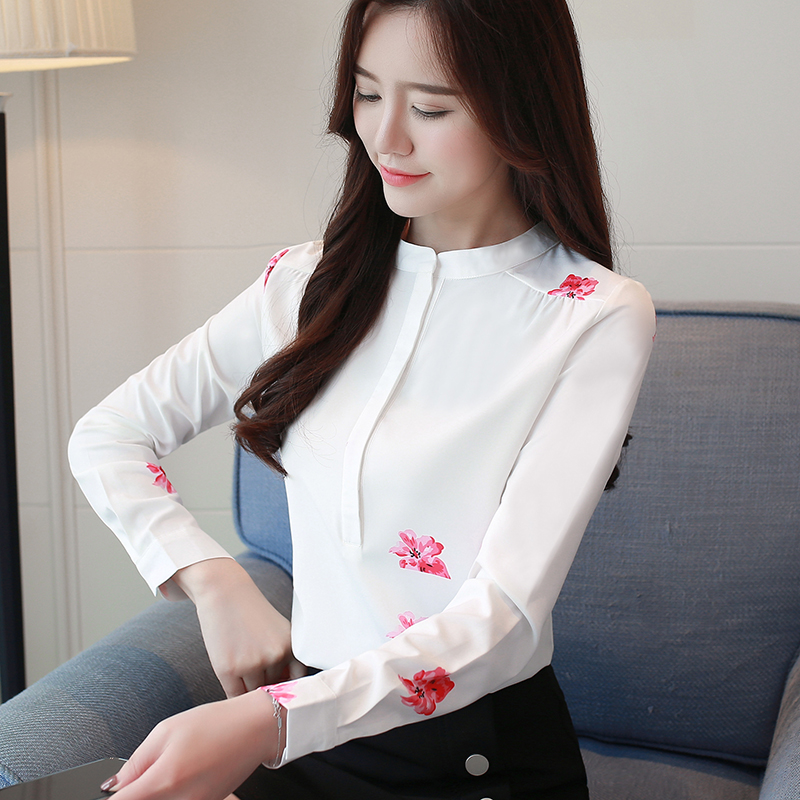 Plus De Impresión Manga floral Butterfly Larga Las La Blusa Camisas Oficina 2019 Tamaño 1042 Mujer 40 Moda Blusas Mujeres Soporte Blanco OtqIIv