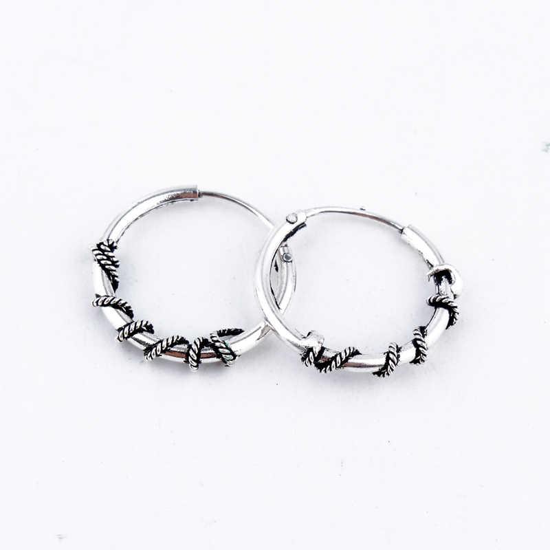 32f24a645 ... Bohemian Gypsy Tribal Hoop Earring Handmade Bali Wrap Vintage Silver  Color Endless Small Circle Earrings For ...