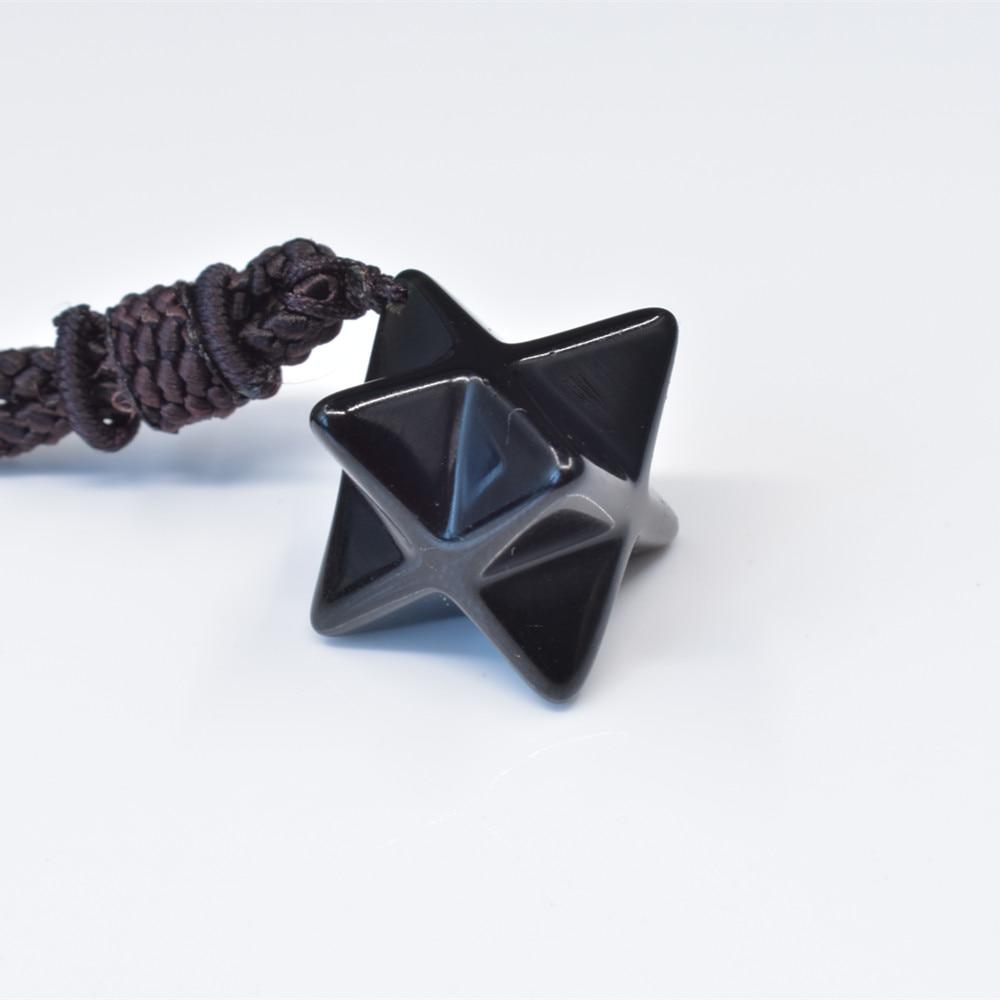 25mm 100% natural Meier kappa obsidian crystal pendant 7 chakra energy crystal stone obsidian necklace