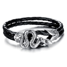 fashion jewelry stainless steel snake with leather men bracelet wholesale