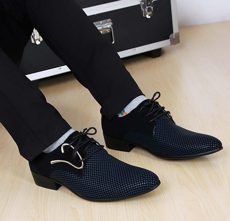 New Fashion Lace Up Color Matching Men Suit Dress Shoes Office S Pointed Leather Male Business Flats In Oxfords From On