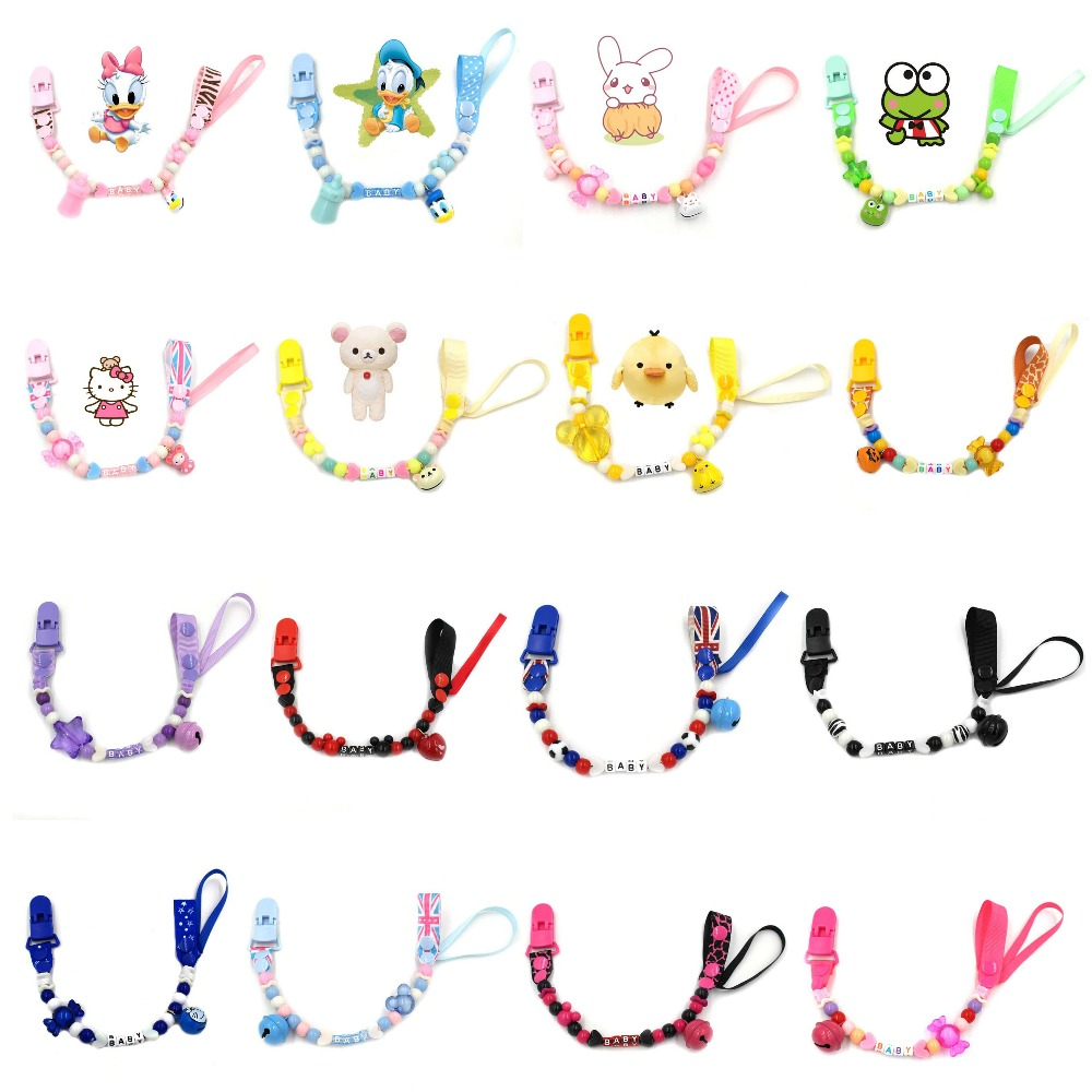Bell Cartoon Pacifier Chain Baby Pacifier Clip For Nipples Cute Infant Teeth Dummy Chain For Children Baby Pacifier Clip B0650
