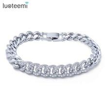 Luoteemi очаровательный браслет микро проложили Сияющий крошечный Циркон петли связаться Медь браслет для Для женщин jewelry Рождественский подарок