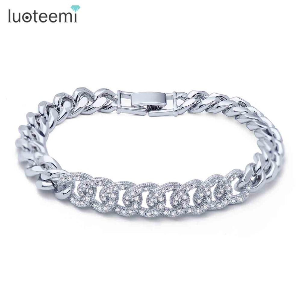 LUOTEEMI New Charming Bracelet Micro Paved Shining Tiny Zircon Loops Connect Copper Bangle for Women Jewelry Christmas Gift