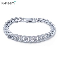 LUOTEEMI New Charming Bracelet Micro Paved Shining Tiny Zircon Loops Connect Copper Bangle Rhodium Plated Jewelry