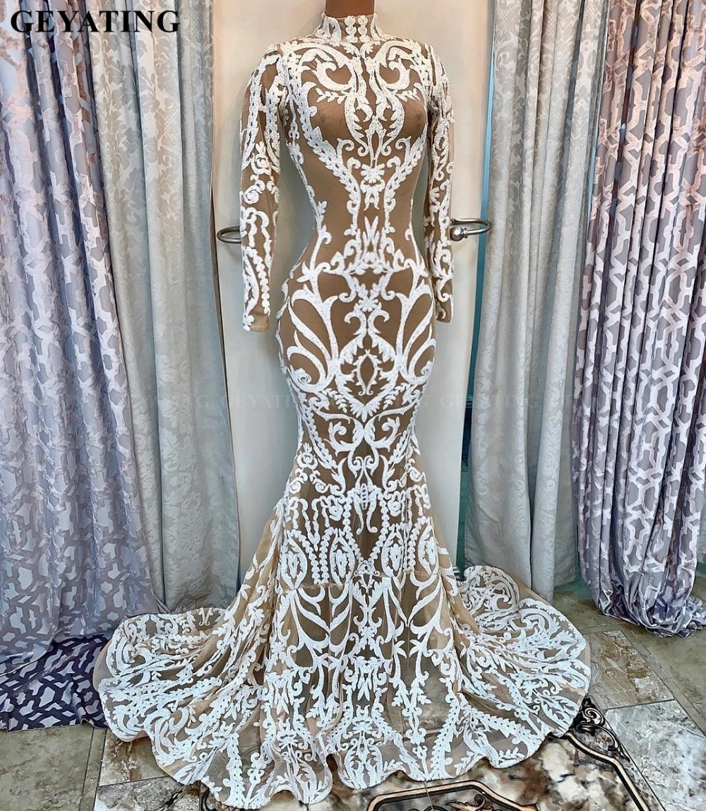 White Long Sleeves Plus Size Mermaid African   Prom     Dresses   2019 Elegant High Neck Plus Size Black Girl Long Graduation Gala   Dress