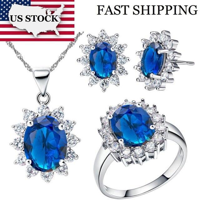 USA STOCK Uloveido Cubic Zirconia Wedding Bridal Jewelry Sets Bijouterie Silver Flower Necklace Earrings Ring Women Costume T466