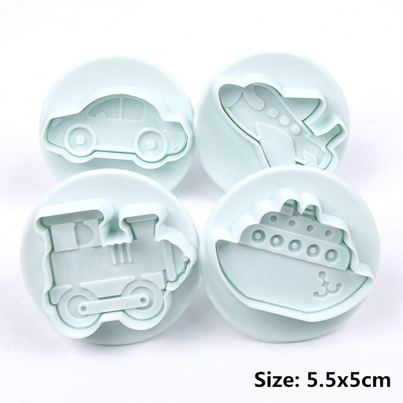 4PCS/set Airplane, Vehicle,Tank, Car Shape Plastic Biscuit Cookie Cutters Fondant Pastry Mold Cake Decorating Tools Candy Molds|Baking & Pastry Tools|   - AliExpress