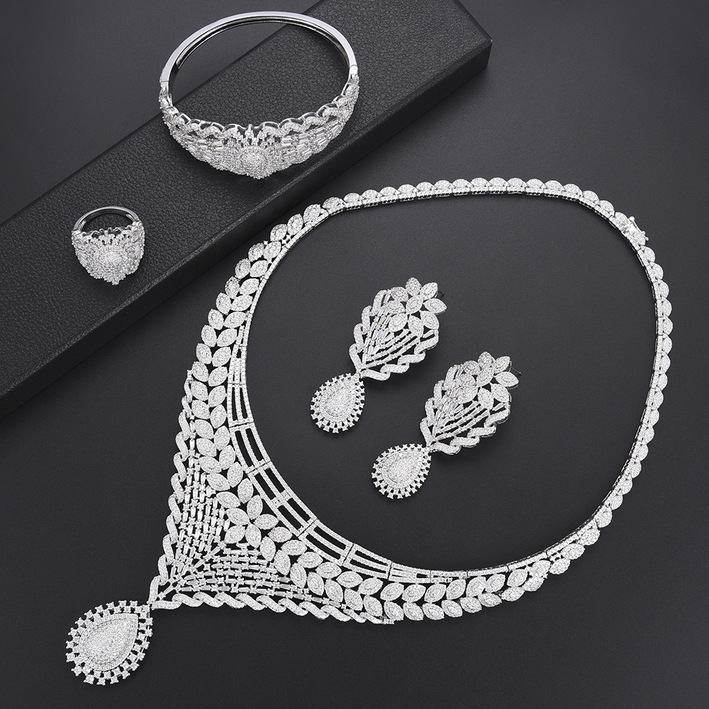 missvikki Trendy Sterling Silver Full Shiny Crystal Charming Jewelry Set For Women Bridal Actor Dancer Model Stage Performance
