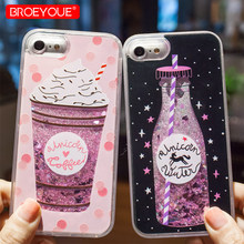 BROEYOUE Liquid Quicksand Glitter Case For iPhone 5 5S SE 6 6S 7 8 Plus Cases For iPhone 7 8 6 6S 5S 5E Case TPU+PC Coque Cover(China)