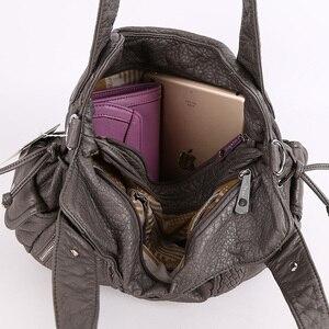 Image 5 - Модная высококачественная повседневная дизайнерская сумка хобо, женские сумки, сумки из мытой искусственной кожи, сумки слинги на плечо для женщин