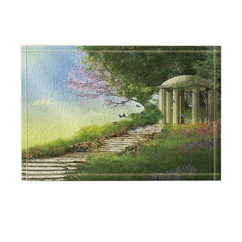 Bed and Bathroom Carpet Kitchen Mats Magic Forest Decor, Gazebo with a Stone Stair and Flowers Bath Rugs, Non-Slip Doormat