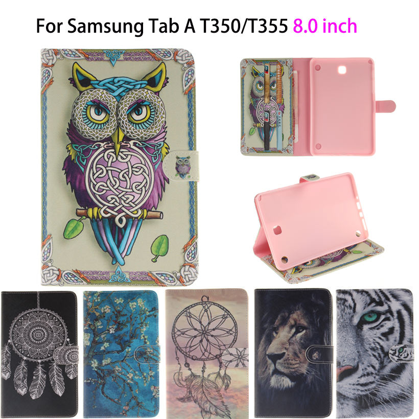 Tiger Owl Girls Painted Flip Silicone Leather Case For Samsung Galaxy tab A 8.0 T350 T351 T355 P350 Case Cover tablet Funda