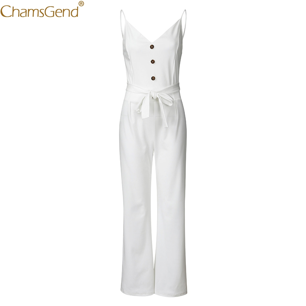 Summer Solid Sleeveless V-Neck White Jumpsuit Elegant For Women Womens Jumpsuit Elegant Lady Rompers Playsuits Sashes Jun