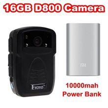 จัดส่งฟรี! D800 HD 1080จุดตำรวจIRกระเป๋ากล้องร่างกาย16กรัมAmbarella A7 + 10000มิลลิแอมป์ชั่วโมงธนาคารอำนาจ