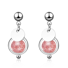 KOFSAC Hot 925 Sterling Silver Earrings For Women Cute/Romantic Crystal Pink Ball Small Round Card Earring Lady Jewelry Gifts