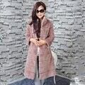 Real Genuine Rex Rabbit fur coat Mujeres outwear de largo