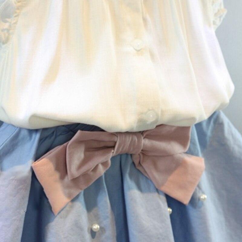 1d4ef062901 2 8 ans enfants vêtements pour filles la jupe arc et dentelle Top costume d été  Style coréen enfants vêtements ensembles bébé enfant en bas âge ensemble ...