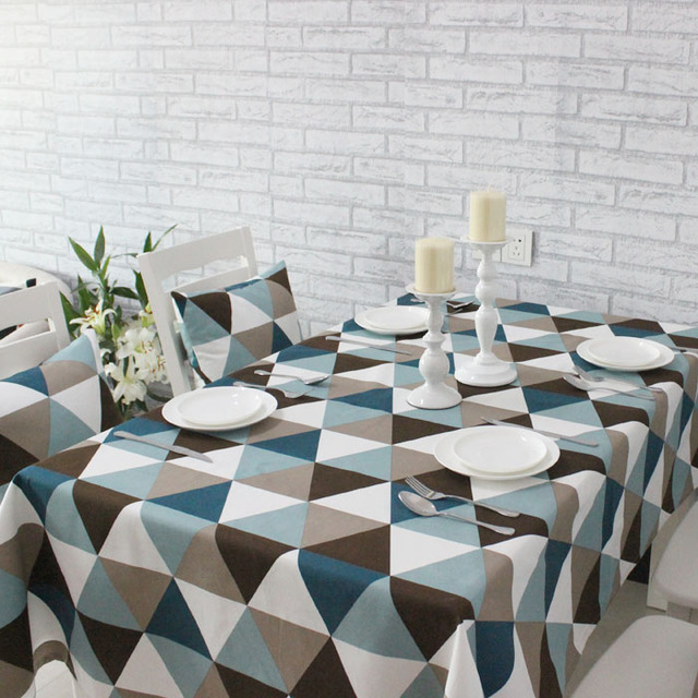 Triangular Splice Colorful Summer Table Cloth Simple Geometric Round Tablecloth