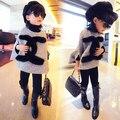 Бесплатная доставка 2015 новый осень зима девушки детей свитер пальто мыс пальто серого цвета сплошной цвет