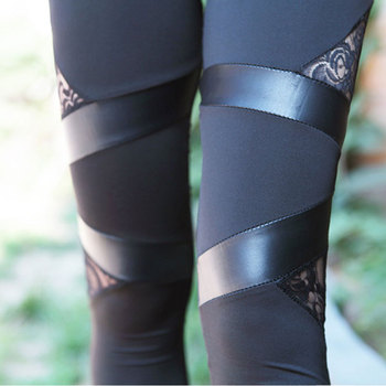 2020 Spring Autumn Leather workout Leggings Hot Charming Warm Cheap Lace legins Sexy PU Leggins Skinny Stretch Splicing Pants 4