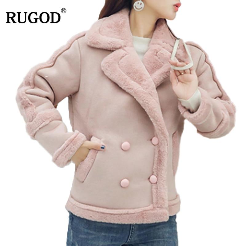 RUGOD Women   Leather   Jacket Coat Women Long Sleeve Turn-down Collar Coat Warm Winter Coat For Female manteau femme hiver