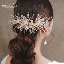 цена на Stunning Crystal Beads Wedding Hair Comb Gold Bridal Headpiece Handmade Women Hair Accessories Jewelry Head Wear Hair Combs