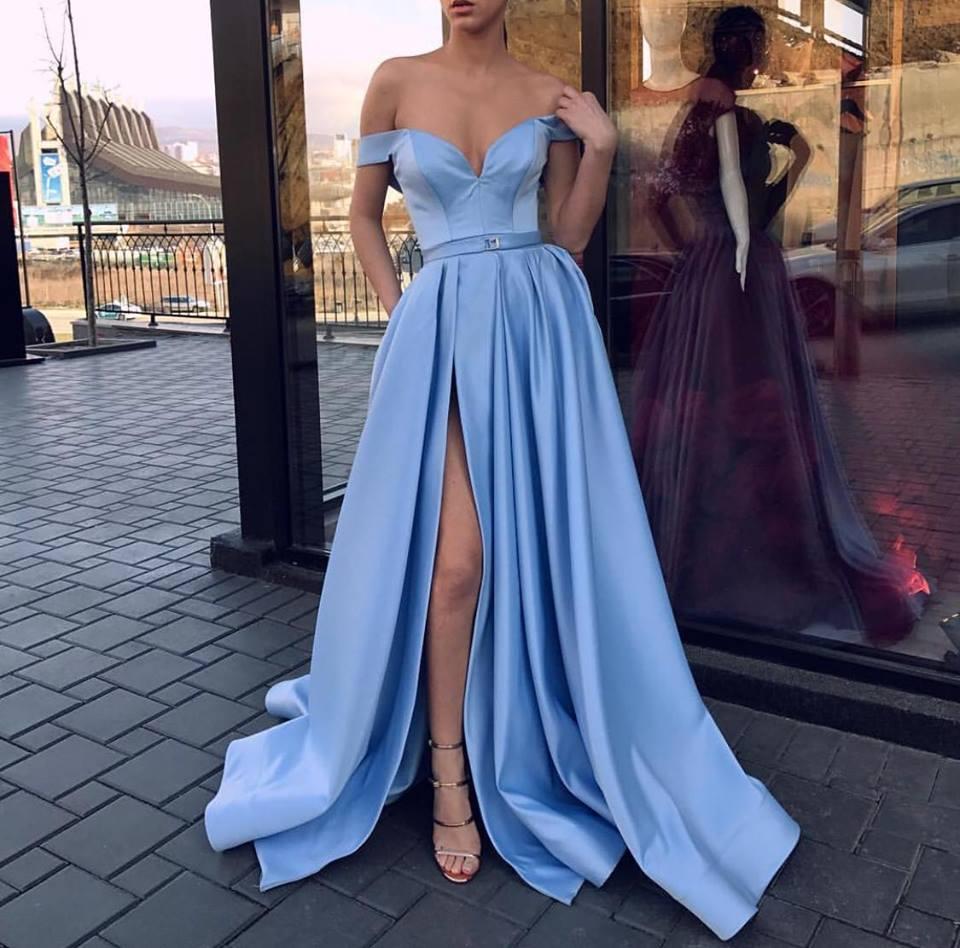 Sweetheart A-Line   Evening     Dress   with Slit Pockets Off the Shoulder Satin Yellow vestido de fiesta Long Party   Dresses   2019