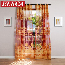 Genial Red Coffee/Yellow Flower Burnout Tulle Curtains For Living Room European  Sheer Curtains For Bedroom Kitchen Curtains Custom Made