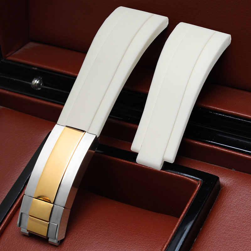 אביזרי שעון 20mm עבור עמיד למים סדרת סיליקון רצועה עם מתקפל אבזם גברים לבן גבוהה-סוף רצועת גומי + כלים.
