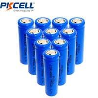 10ピースicr 14500リチウムイオンaa充電式バッテリー750 mah 3.7ボルト用懐中電灯フラットトップ