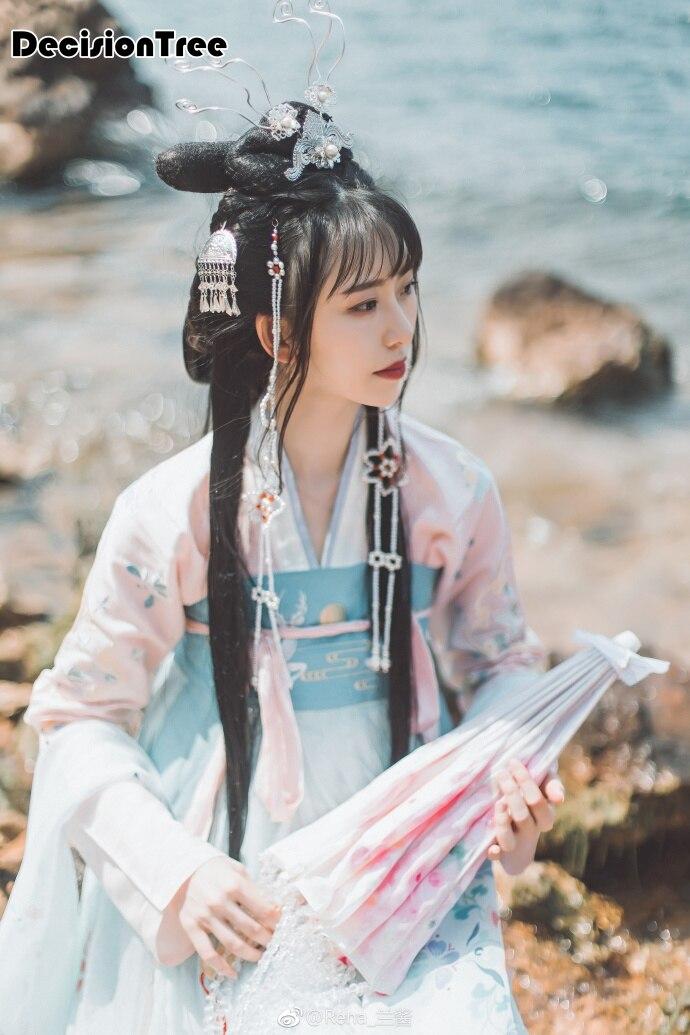 2019 été qing dynastie femme princesse costume hanfu broderie hanfu costume scène performance danse costumes pour les femmes